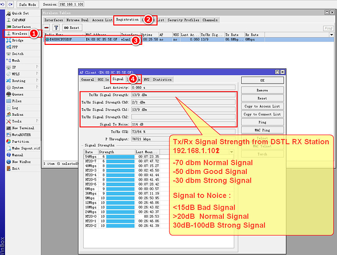 How to check the signal strength of DSTL mikrotik - UBNT and